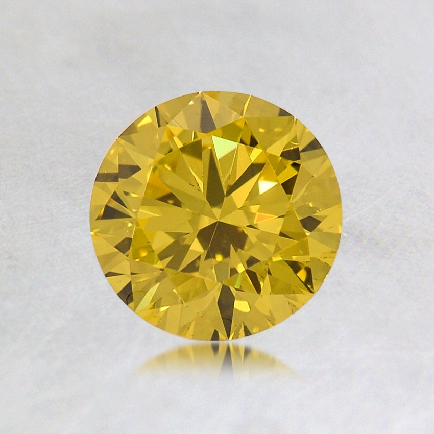 0.53 ct. Lab Created Fancy Vivid Yellow Round Diamond, top view