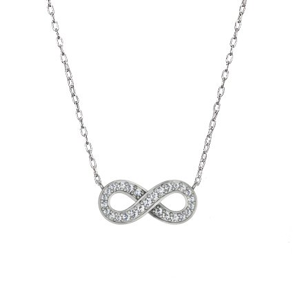 18K White Gold Pavé Diamond Infinity Pendant, top view