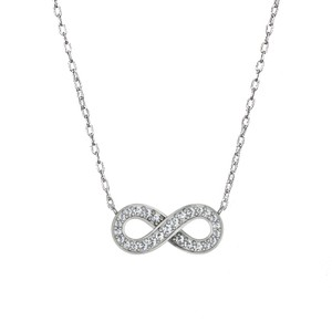 18K White Gold Pavé Diamond Infinity Pendant, top view