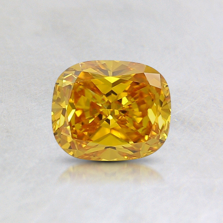 0.53 Ct. Fancy Vivid Orange-Yellow Cushion Lab Created Diamond