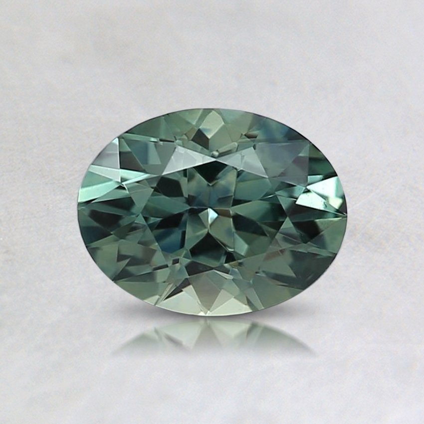 6.5X5mm Teal Oval Sapphire, top view