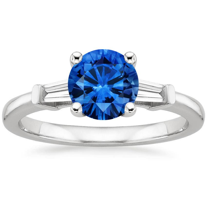 Platinum Sapphire Tapered Baguette Diamond Ring, top view