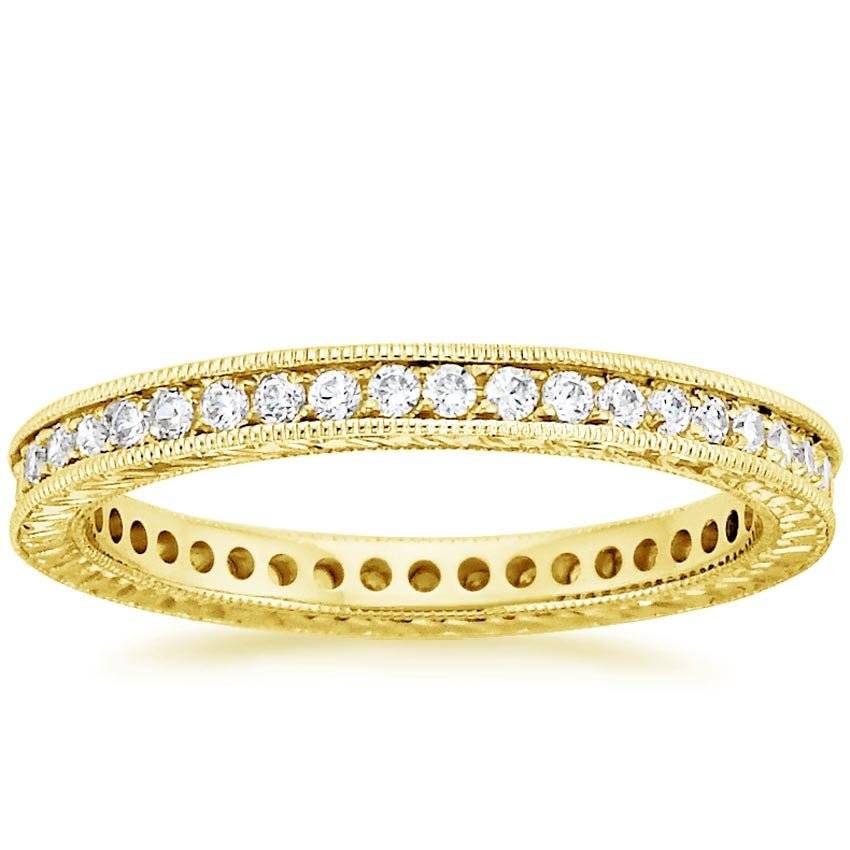 18K Yellow Gold Beyond Eternity Pavé Diamond Ring (1/3 ct. tw.), top view