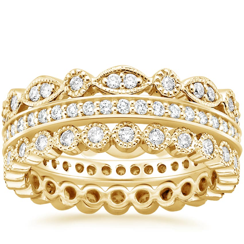 Yellow Gold Luxe Antique Eternity Diamond Ring Stack (1 ct. tw.)