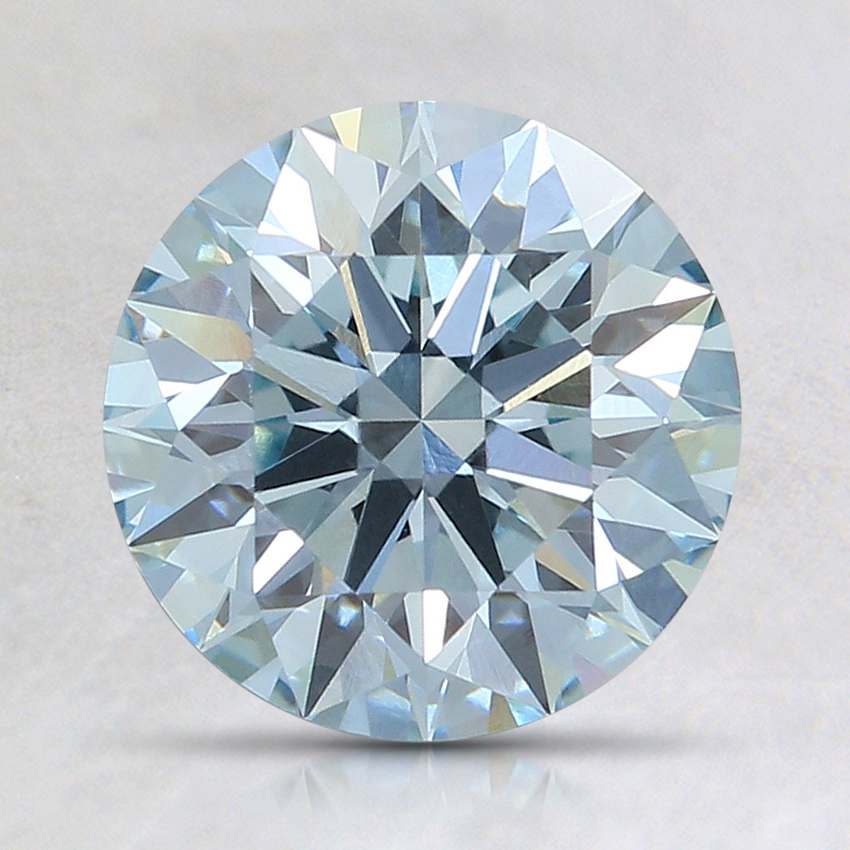 1.66 Ct. Light Greenish Blue Round Lab Created Diamond