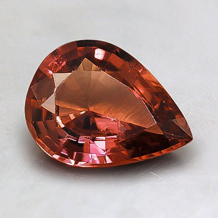 8.5x6.5mm Unheated Orange Pear Sapphire, top view