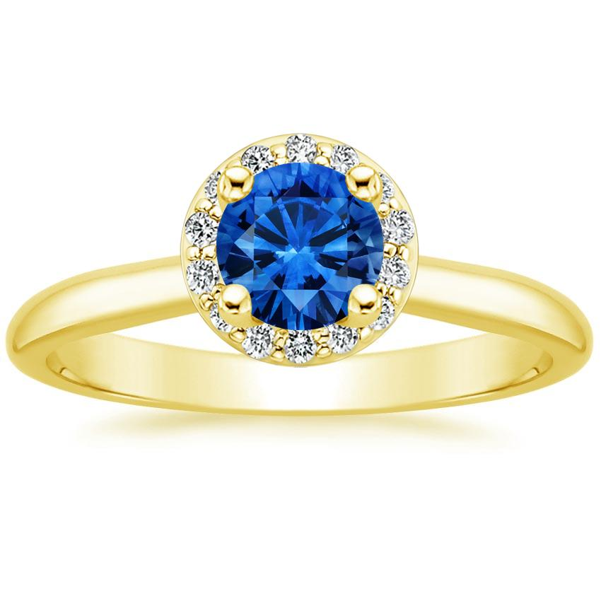 18K Yellow Gold Sapphire Halo Diamond Ring (1/8 ct. tw.), top view
