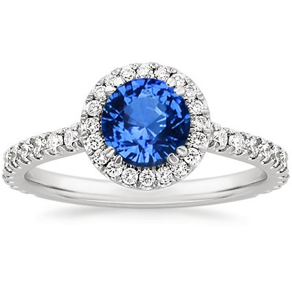 18K White Gold Sapphire Ingénue Ring, top view