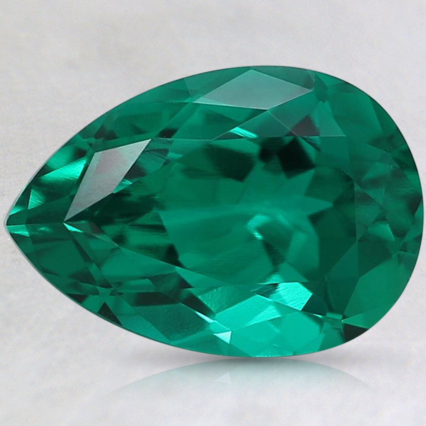 10x7mm Pear Lab Created Emerald