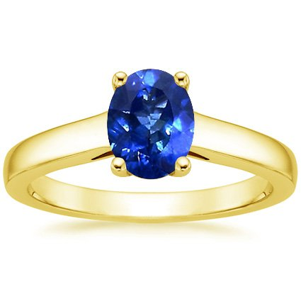 18K Yellow Gold Sapphire Trellis Ring, top view