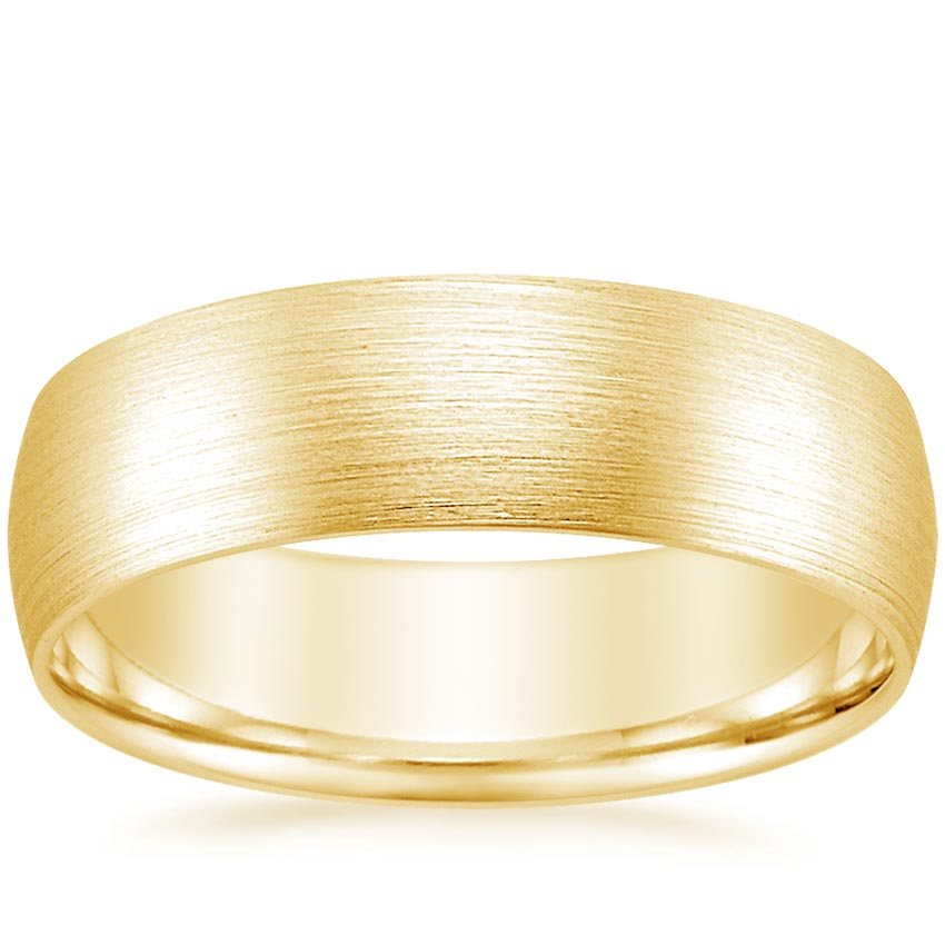 Yellow Gold 6mm Matte Comfort Fit Wedding Ring