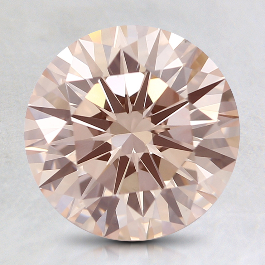 2.09 Ct. Fancy Light Orangy Pink Round Lab Created Diamond