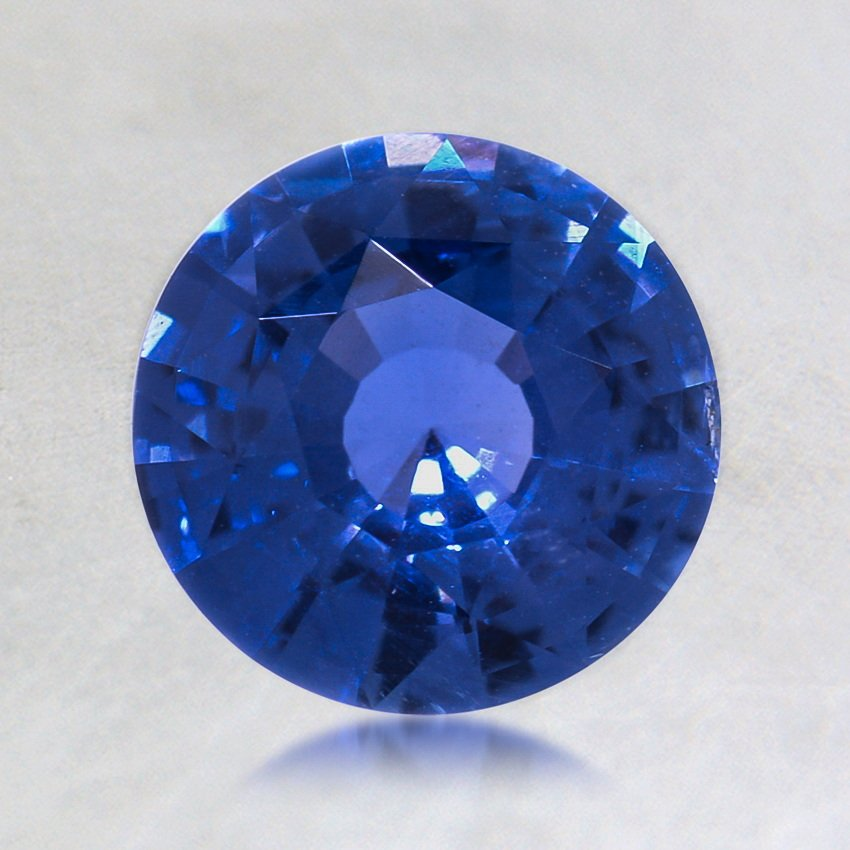 7mm Unheated Blue Round Sapphire, top view