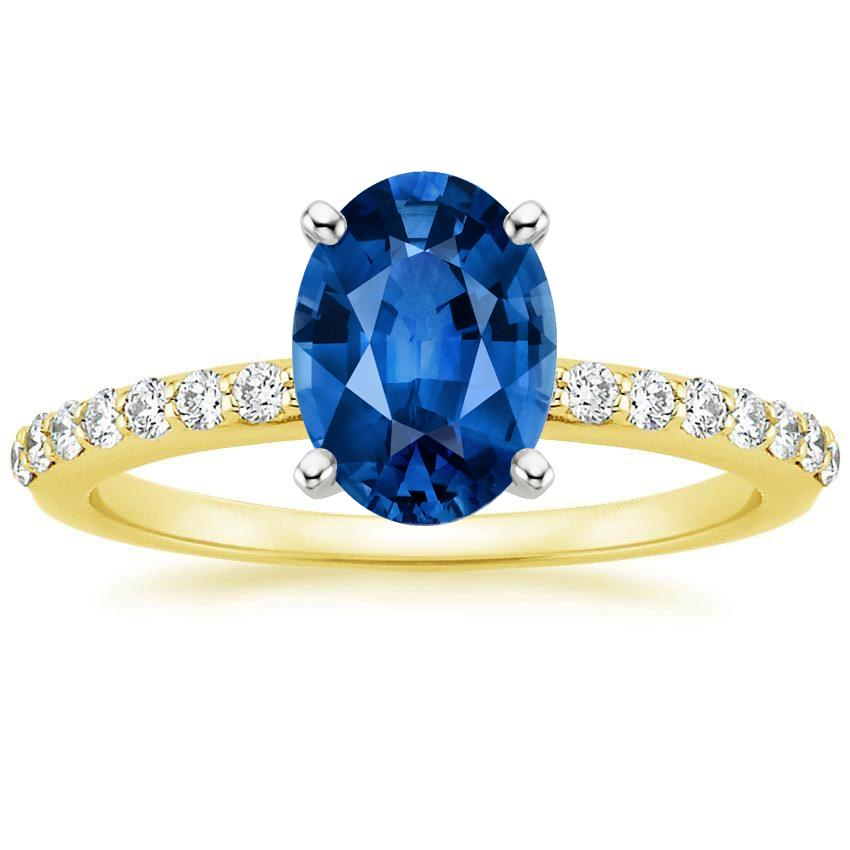 18K Yellow Gold Sapphire Petite Shared Prong Diamond Ring, top view