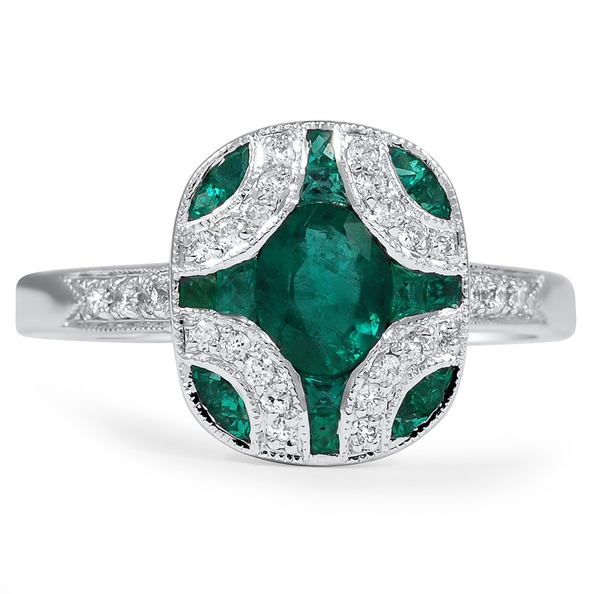 Art Deco Emerald Vintage Ring   Adria   Brilliant Earth  Art Deco Emeral...