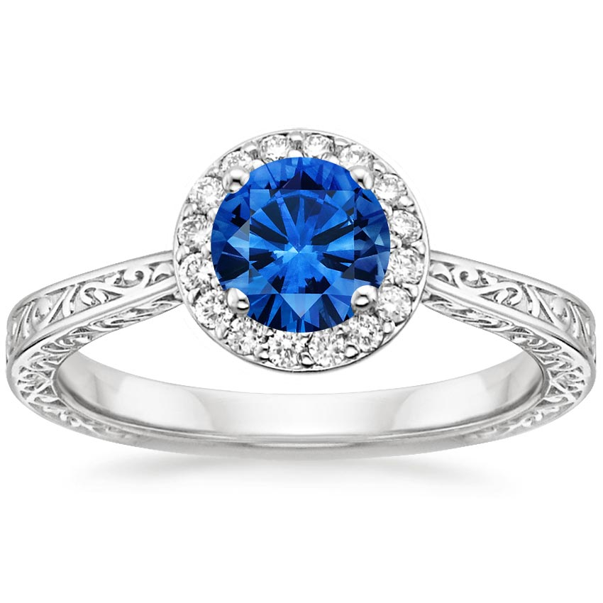 18K White Gold Sapphire Contessa Diamond Ring, top view