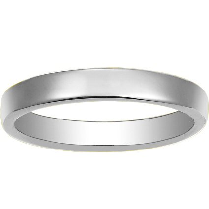 Low Profile Wedding Ring in 18K White Gold