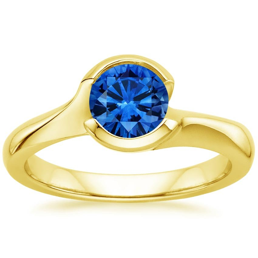 Sapphire Cascade Ring in 18K Yellow Gold with 6mm Round Blue Sapphire