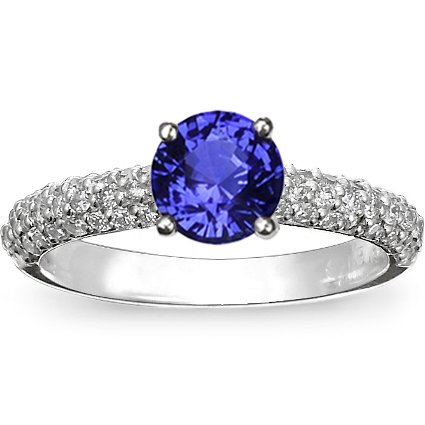 18K White Gold Sapphire Pavé Diamond Multi Row Ring, top view