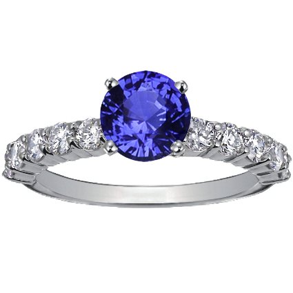 Sapphire Luxe Shared Prong Diamond Ring in Platinum with 6mm Round Blue Sapphire