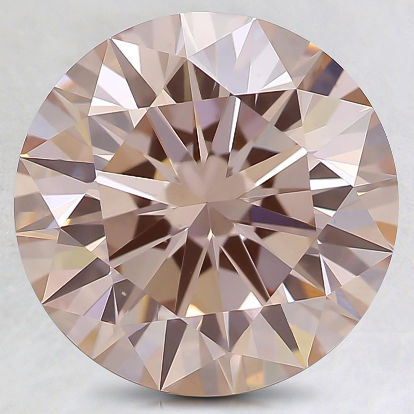 3.09 Ct. Fancy Orangy Pink Round Lab Created Diamond