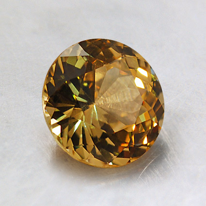 6.5mm Premium Yellow Round Sapphire, top view