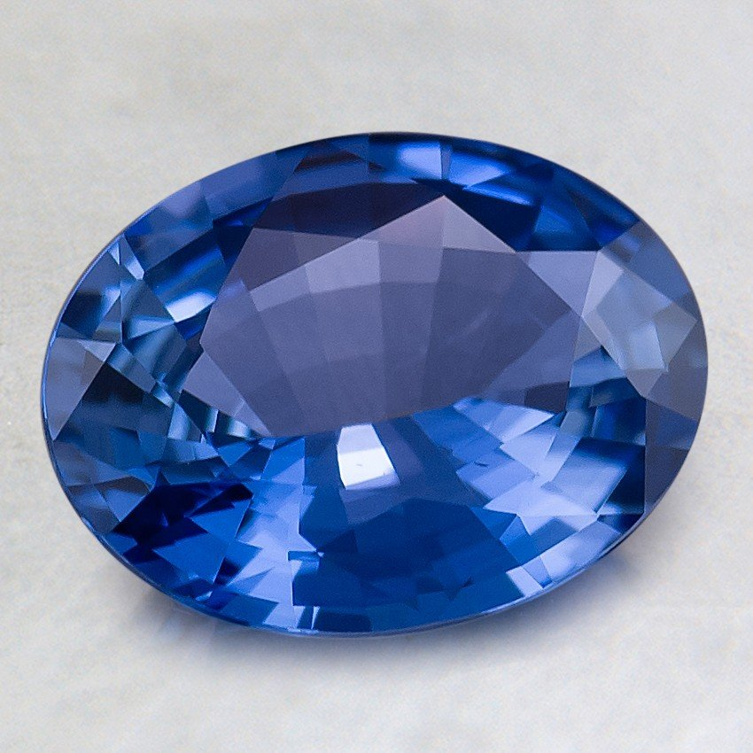 9x7mm Blue Oval Sapphire, top view