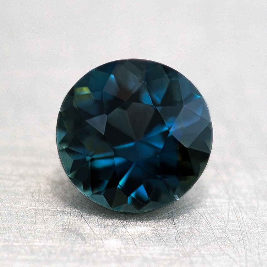 6mm Premium Teal Round Sapphire, top view