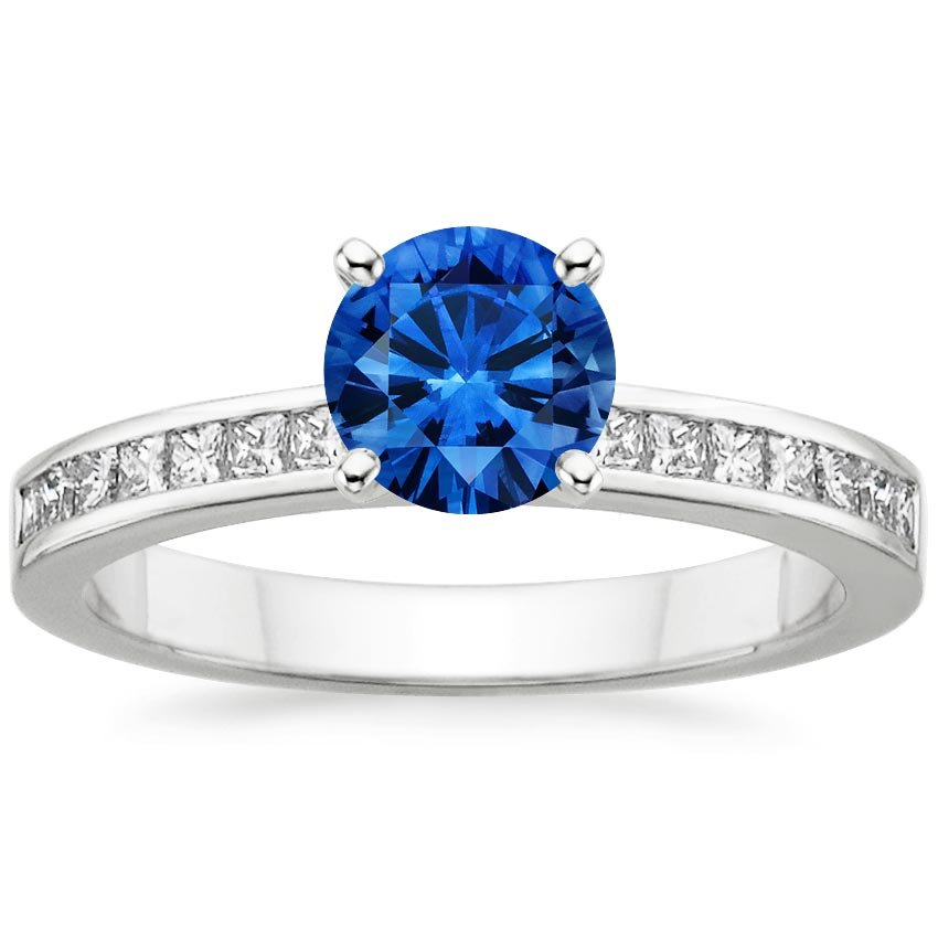 Platinum Sapphire Petite Channel Set Princess Diamond Ring (1/4 ct. tw.), top view