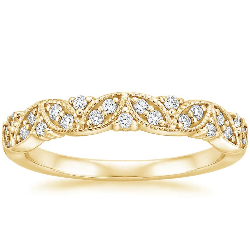 Yellow Gold Antique Floral Milgrain Diamond Ring