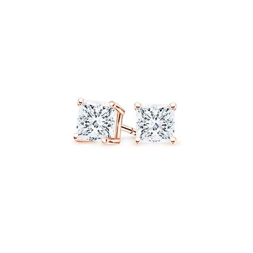 14K Rose Gold Four-prong Princess Diamond Stud Earrings, top view