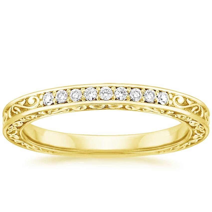 Yellow Gold Delicate Antique Scroll Ring (1/10 ct. tw.)