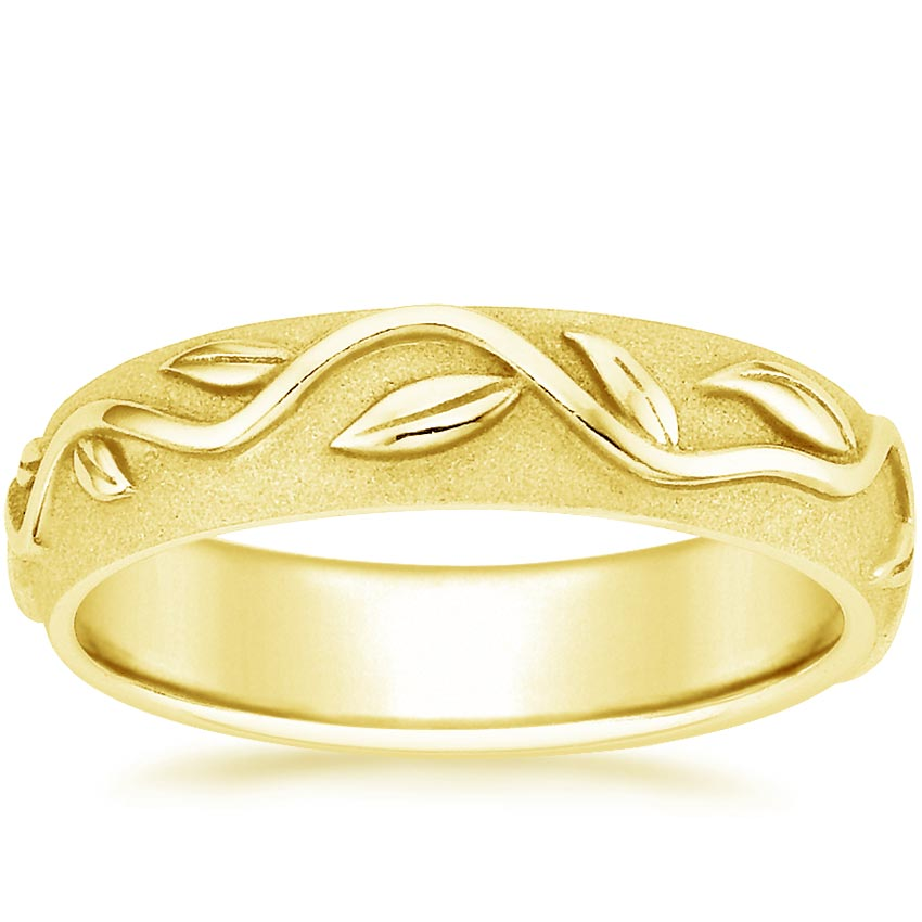 18K Yellow Gold Wide Ivy Ring, top view