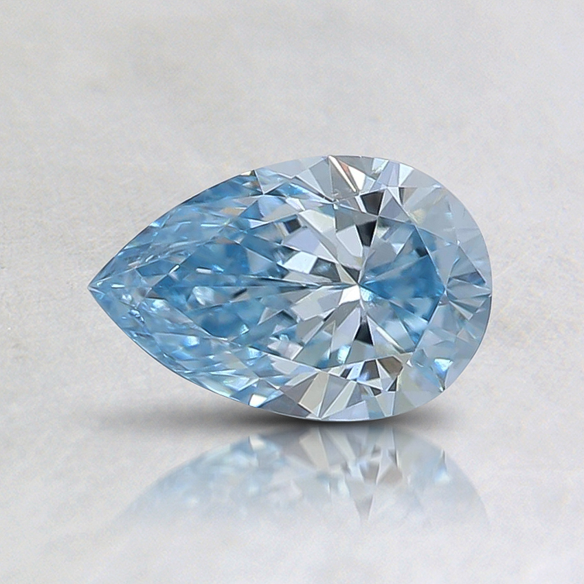 0.54 Ct. Fancy Intense Greenish Blue Pear Lab Created Diamond