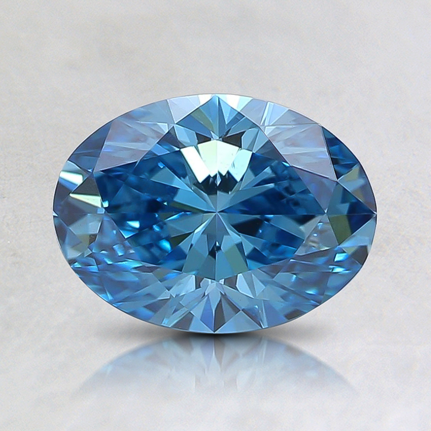 0.91 Ct. Fancy Intense Greenish Blue Oval Lab Created Diamond