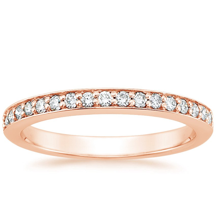14K Rose Gold Classic Pavé Diamond Ring (1/4 ct. tw.), top view
