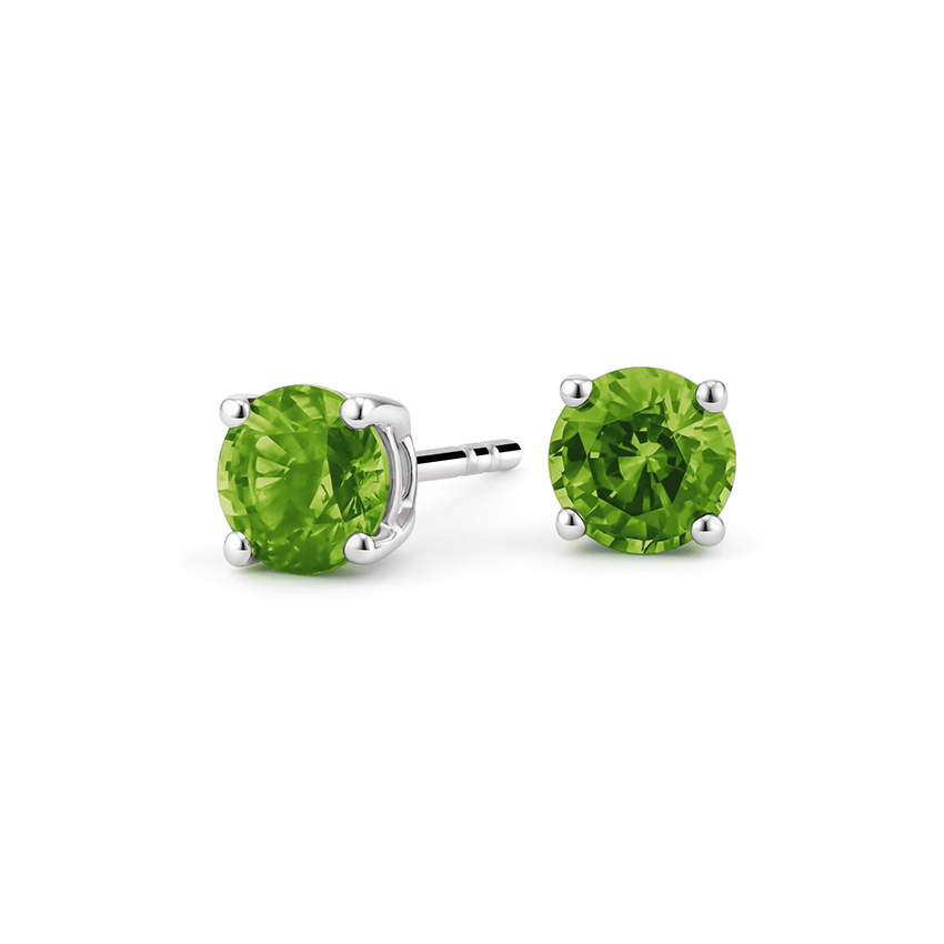 Peridot Stud Earrings in Silver