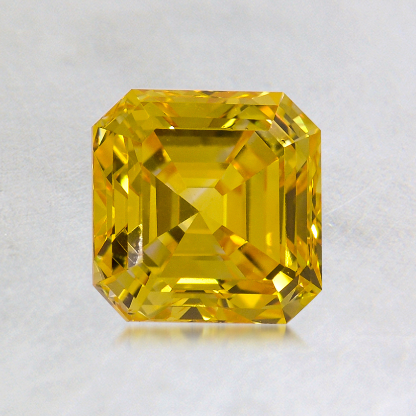 1.08 ct. Lab Created Fancy Vivid Yellow Asscher Diamond, top view
