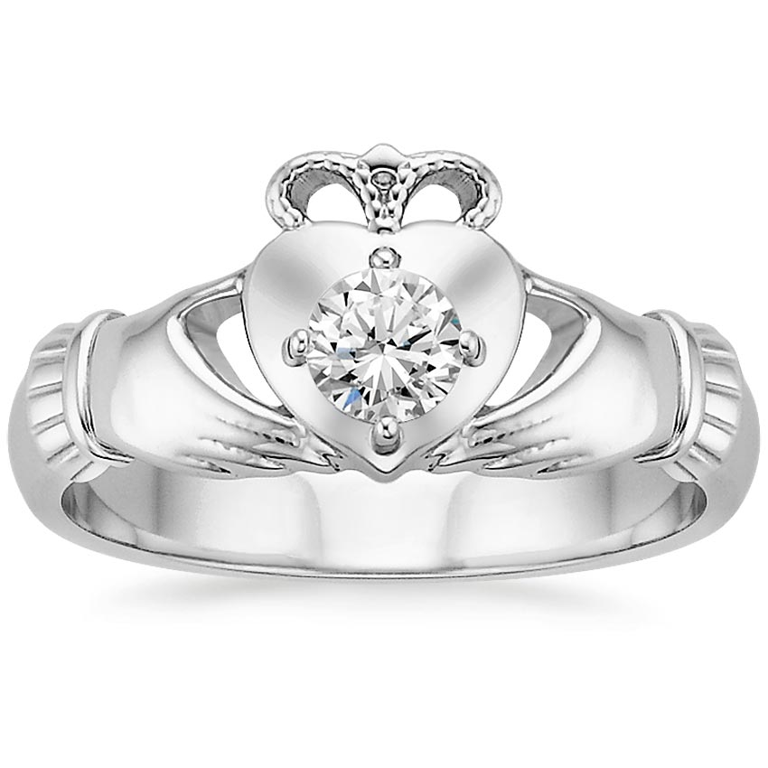 18K White Gold Claddagh Diamond Ring (1/4 ct. tw.), top view