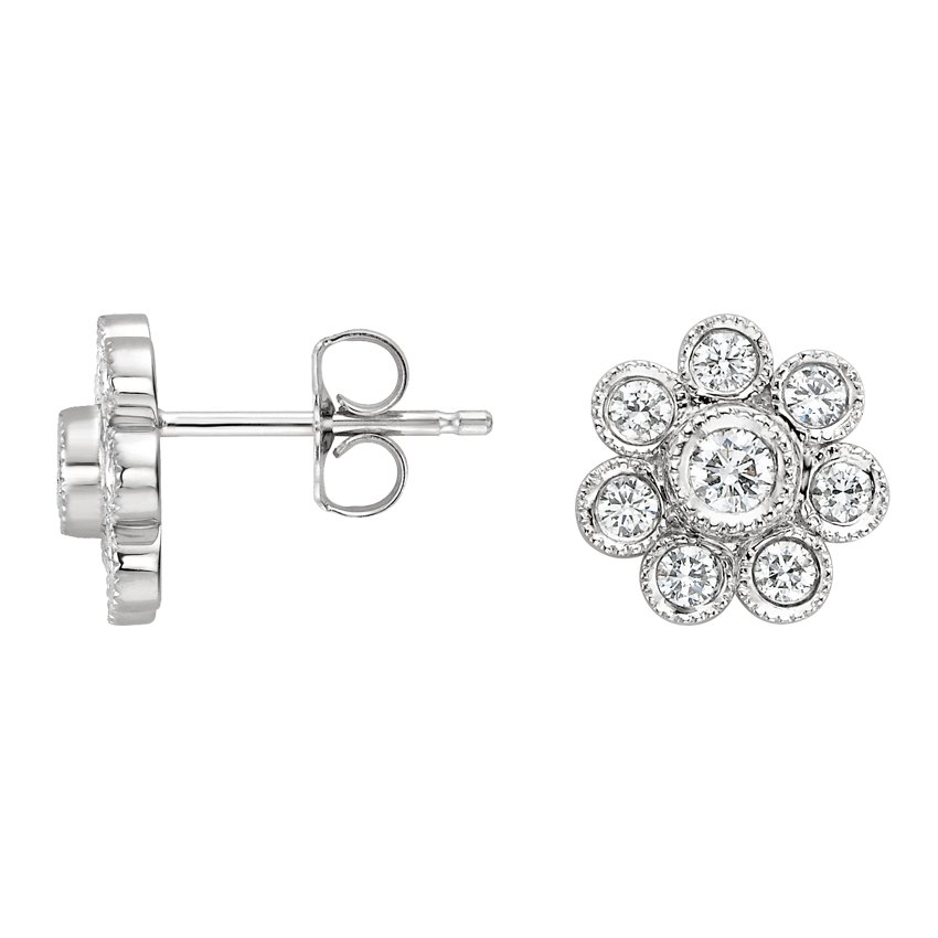 Bezel Flower Stud Earrings (1/2 ct. tw.) in 18K White Gold