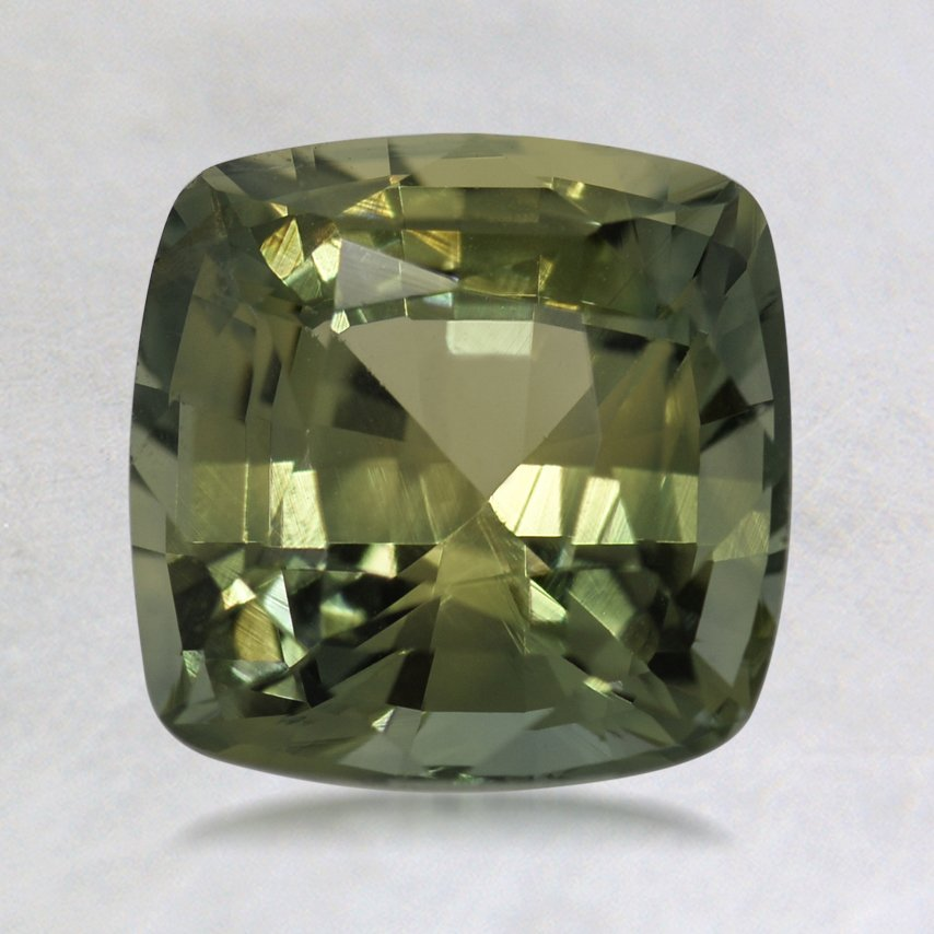 7mm Green Cushion Sapphire, top view