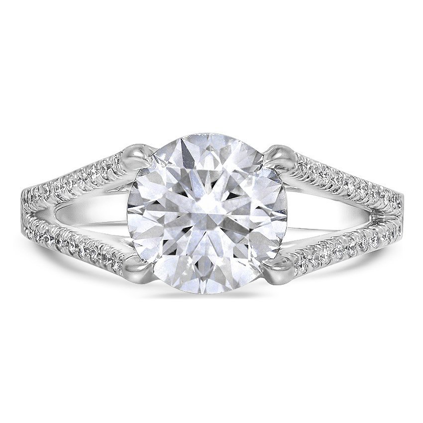 Custom Split Shank Trellis Diamond Ring
