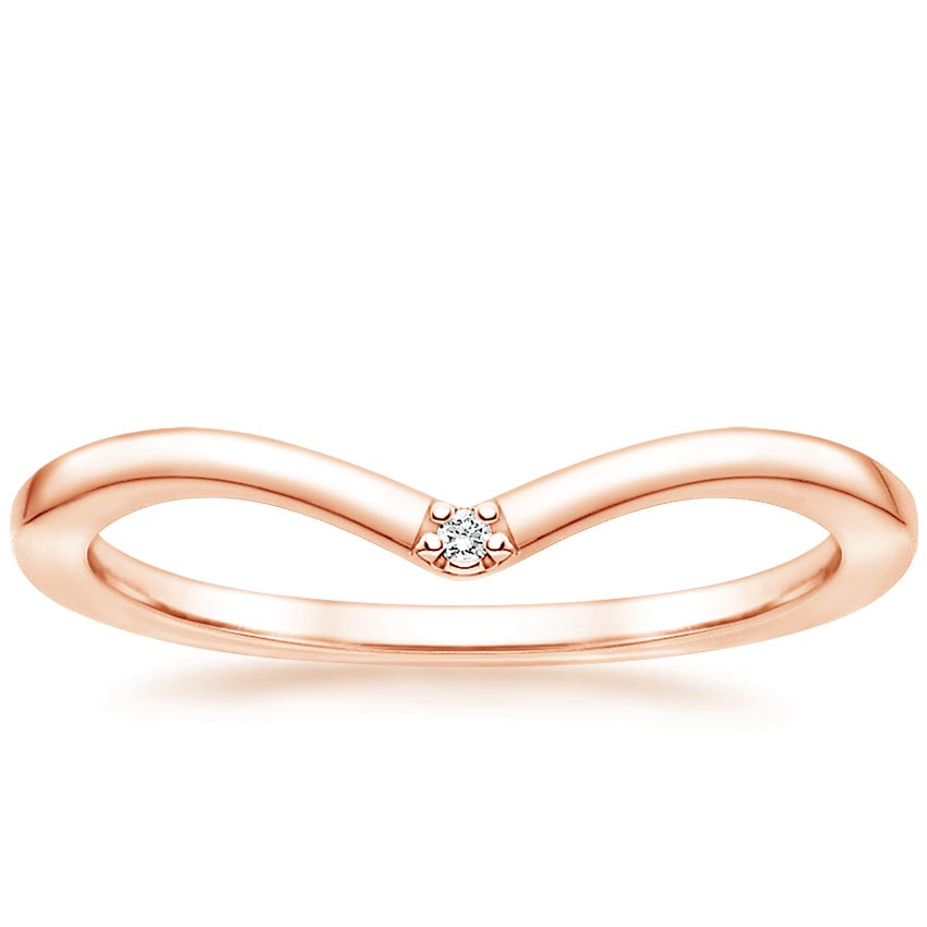Rose Gold Chevron Diamond Accented Ring