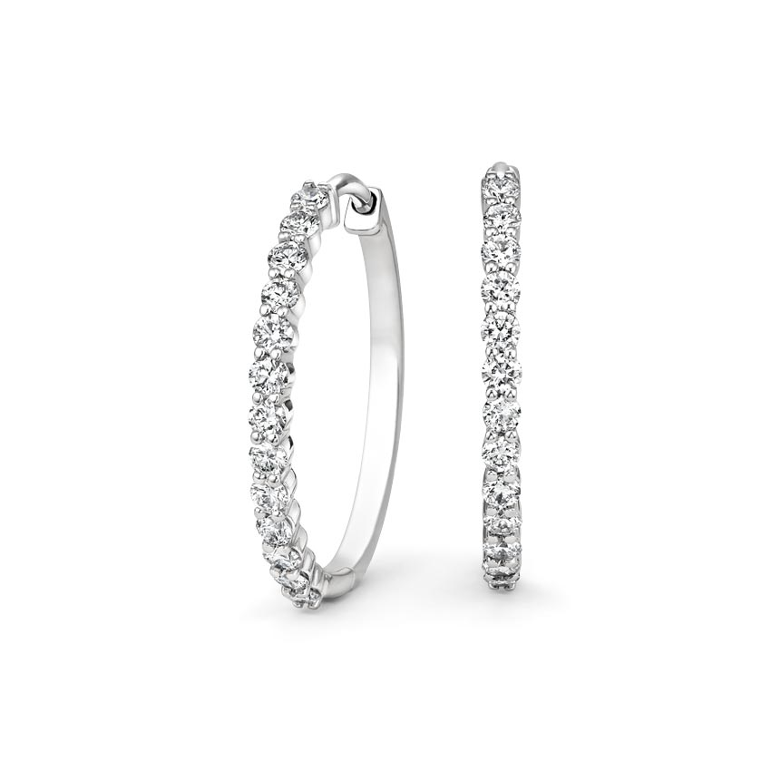 Shared Prong Diamond Hoop Earrings (1 2 ct. tw.) in 18K White Gold b9de1ffe1f44