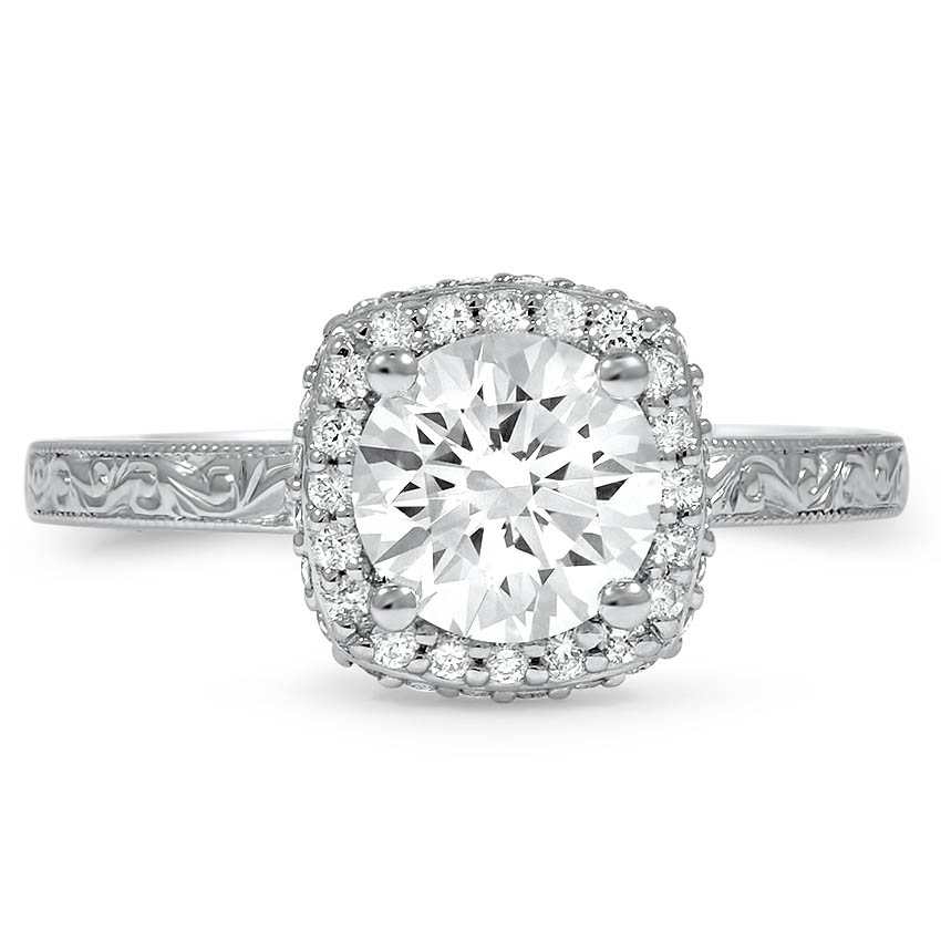 Custom Surprise Accents Vintage-Inspired Halo Diamond Ring