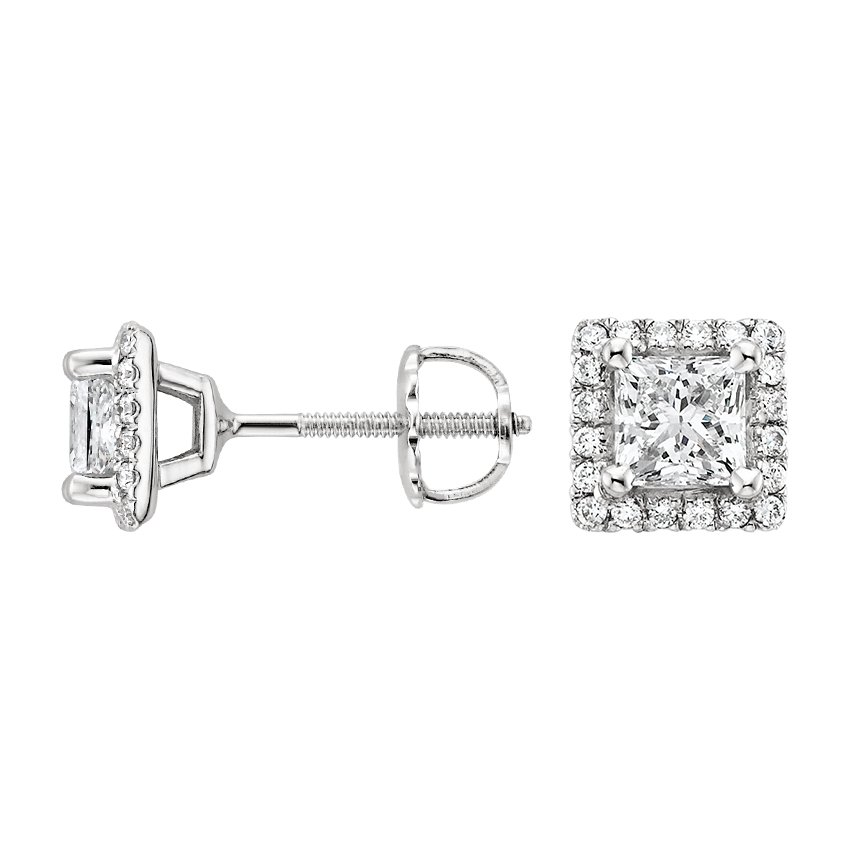 18K White Gold Luxe Princess Halo Stud Earrings, top view