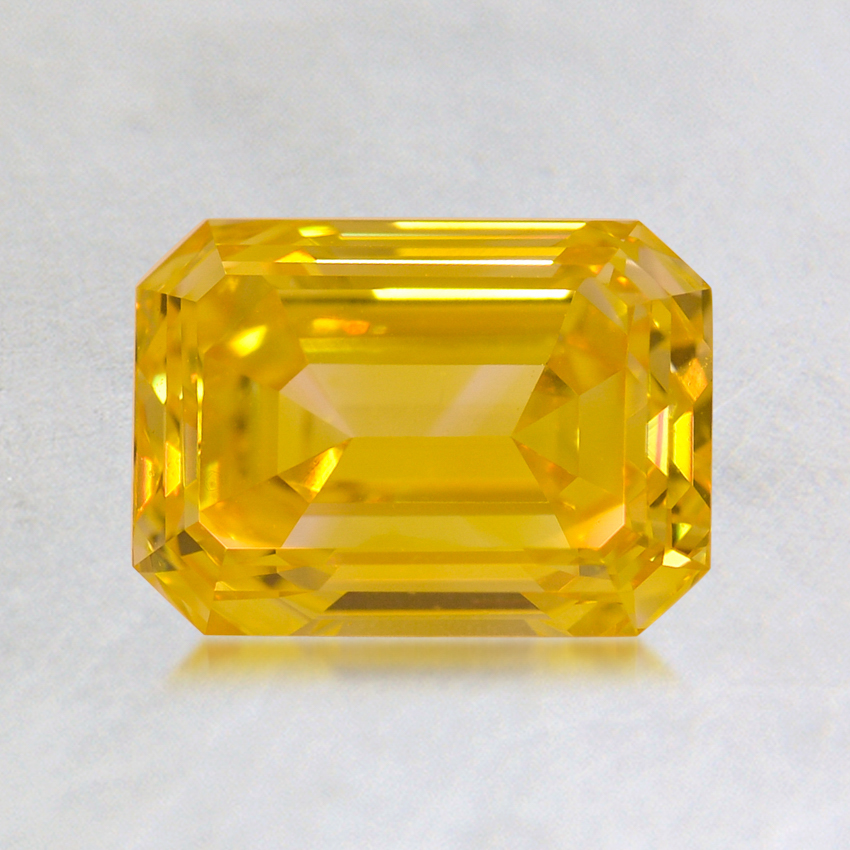 1.14 ct. Lab Created Fancy Vivid Yellow Emerald Diamond, top view