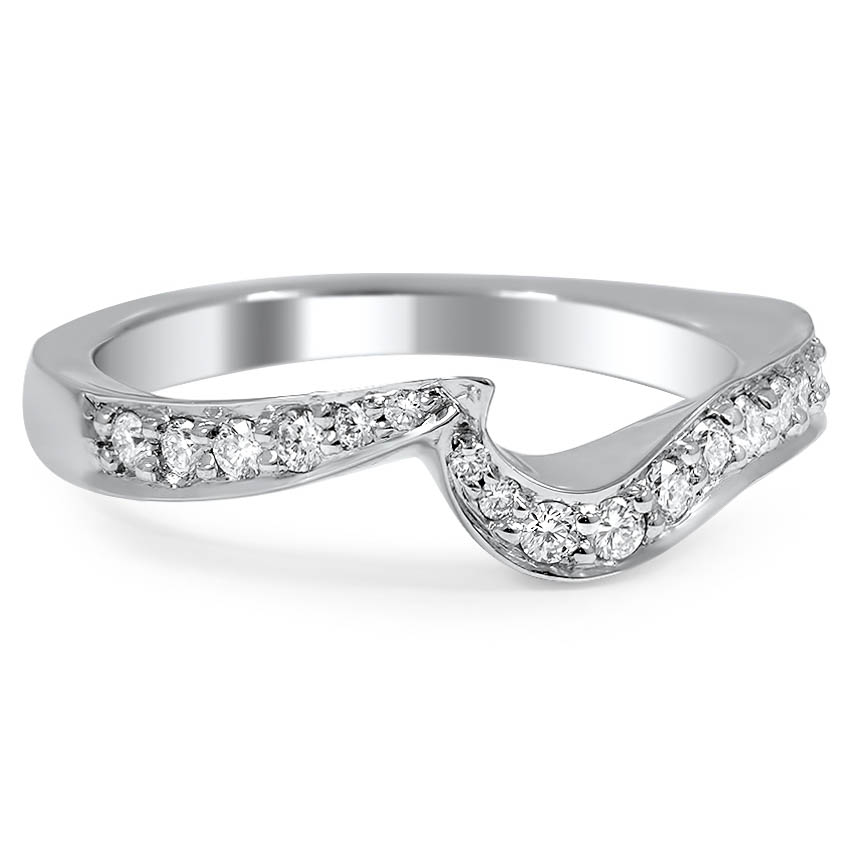 Custom Pave Diamond Cascade Contoured Wedding Ring