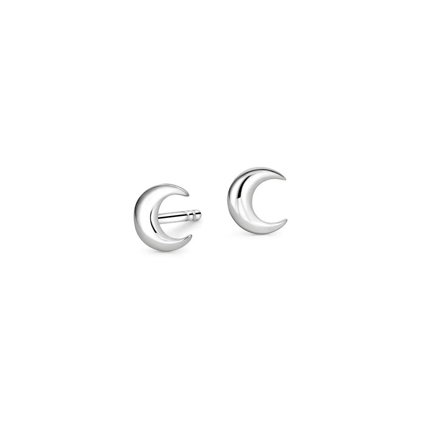 Moon Stud Earrings in 18K White Gold