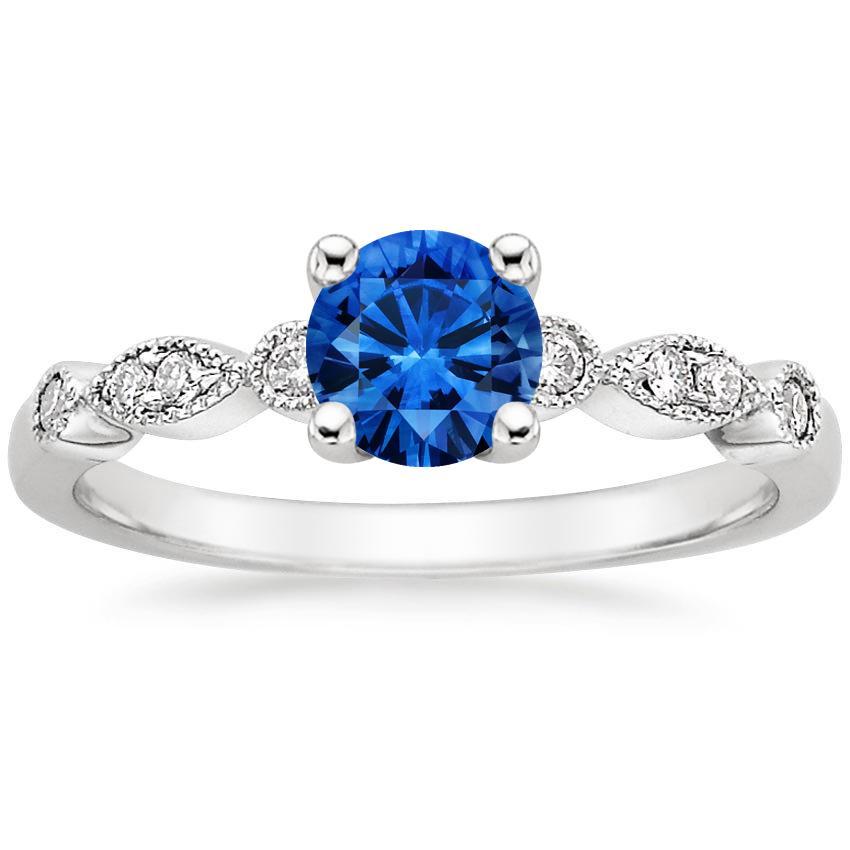 sapphire tiara ring in 18k white gold